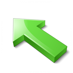Arrow 2 Up Left Green Icon 256x256