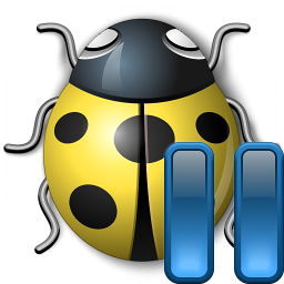 Bug Yellow Pause Icon 256x256