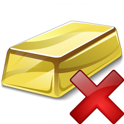 Gold Bar Delete Icon 256x256