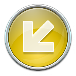 Nav Down Left Yellow Icon 256x256