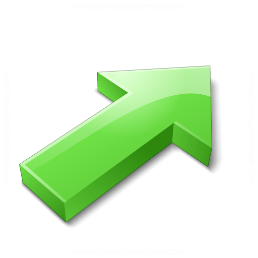 Arrow 2 Up Right Green Icon